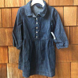 NWT Gap Kids Dark Chambray Denim Shirt Dress - 4T